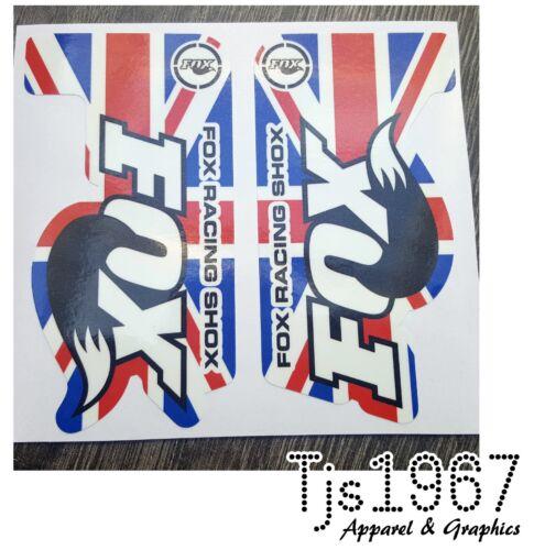 Fox Racing Shox MTB Mountain Bike Vinyl Decals Stickers UNION JACK DESIGN 115x60