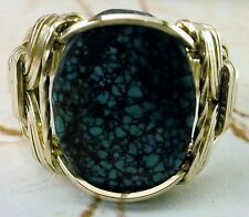 R534 Genuine Tibet Turquoise Grade A Ring 14k Gold gf Mens or Ladies Jewelry