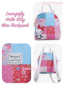 6d1bd0c81 Image is loading NWT-Loungefly-HELLO-KITTY-PATCHWORK-Mini-Backpack-Book-
