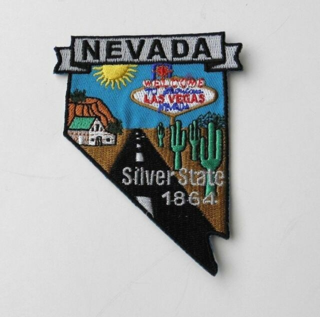 NEVADA USA THE SILVER STATE EMBROIDERED MAP PATCH 2 X 3 INCHES