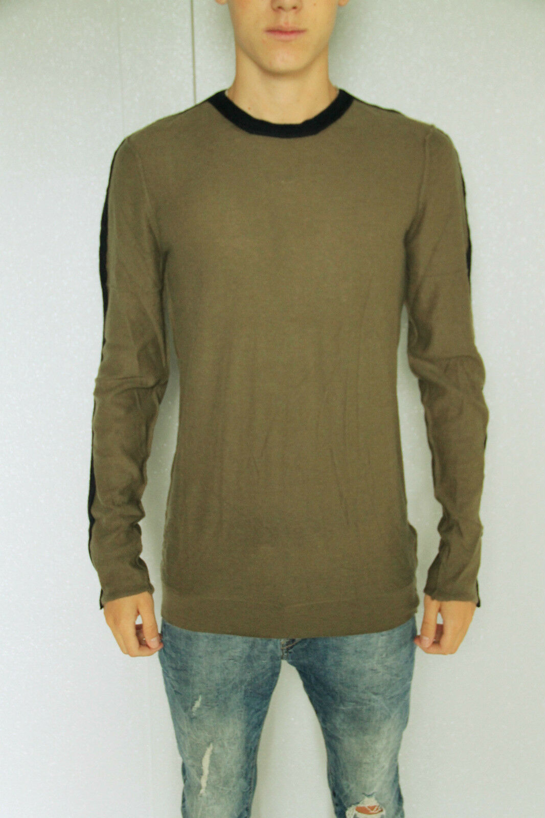Sweater khaki angora merino extra fine m+ F GIRBAUD T L NEW/LABEL val