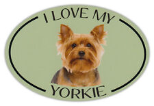 Oval Dog Breed Picture Car Magnet - I Love My Yorkie (Yorkshire Terrier)