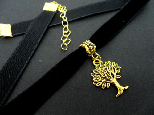 NEW. A LADIES 10MM BLACK VELVET /& GOLD  TREE OF LIFE  CHARM CHOKER NECKLACE