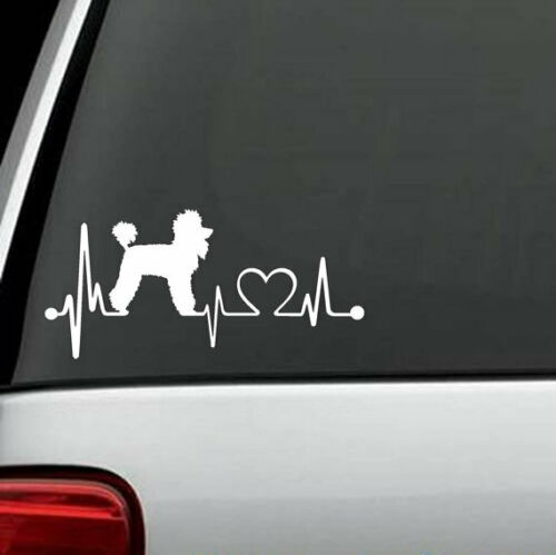 POODLE DOG HEARTBEAT Decal-Sticker for Car Truck Bumper Wall Window bottle phone