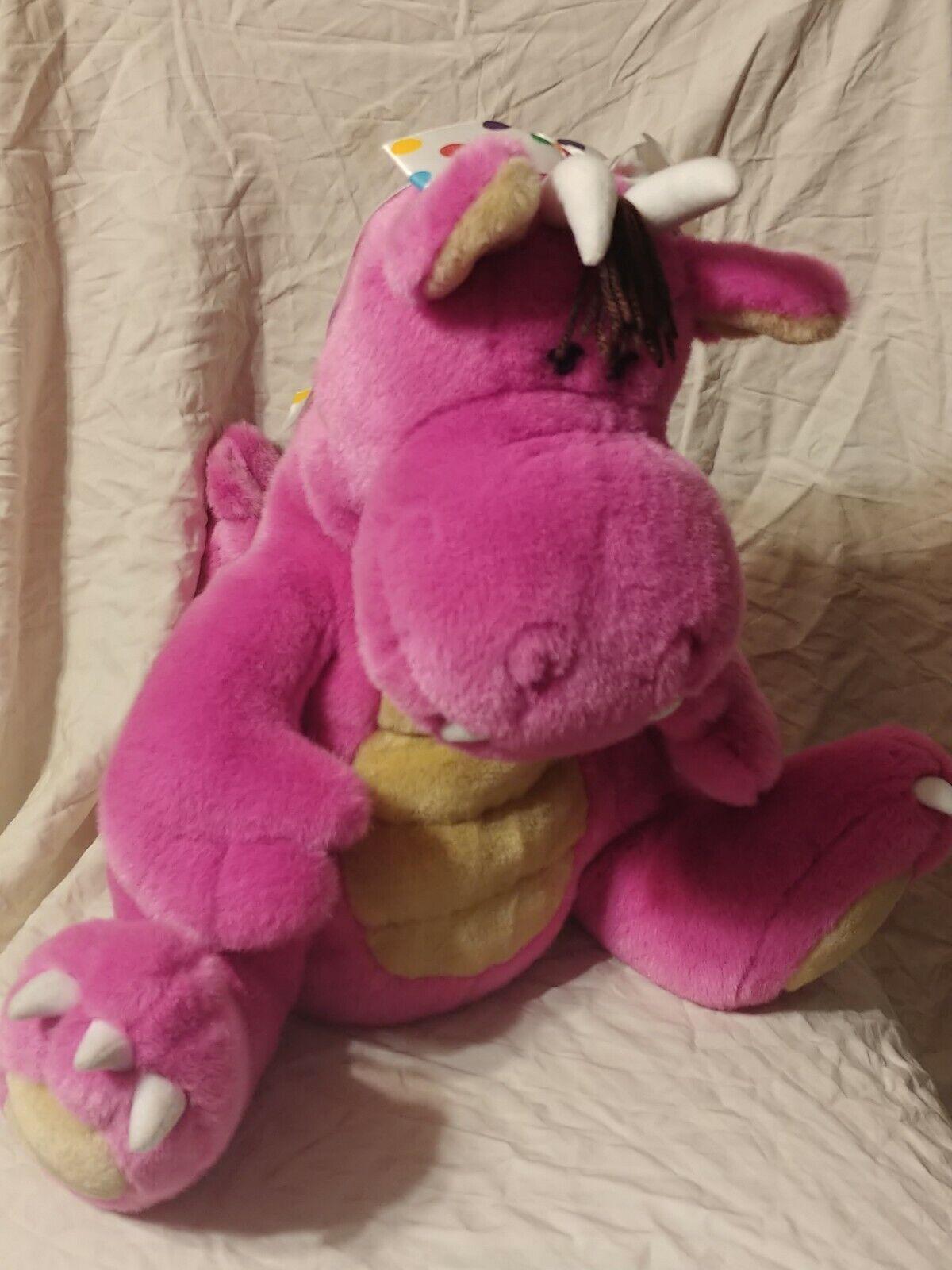 Peponi Gund Gund Pink Fat Dragon Plush Stuffed Animal 16  RARE