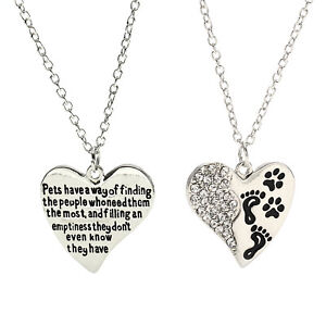Heart-Paw-Prints-Pendant-Chain-Necklace-Pet-Dog-Loss-Memorial-Jewellery-Gifts