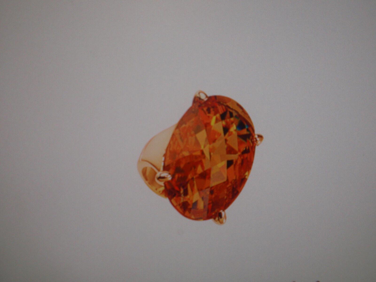 Park Lane Jewelry  MANDARIN  Ring, S-8, goldtone, Mega Size CZ, New