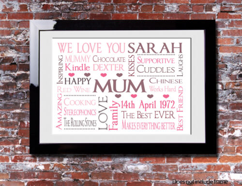 Personalised MUMS Present Family Mothers Day Print Gift Canvas Word Art Mum
