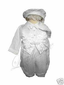 NEW-INFANT-BOY-amp-TODDLER-CHURCH-BAPTISM-ROMPER-OUTFITS-WHITE-SIZE-NEW-BORN-30M