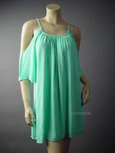 Pastel-Mint-Green-Open-Cold-Off-Shoulder-Romantic-Boho-Shift-120-mv-Dress-XS-S-M