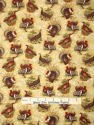 Autumn Bird Benartex #02397 Turkey Run Yard Thanksgiving Turkey Fabric