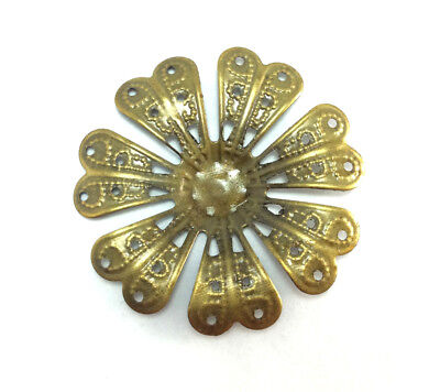 20 Antique Brass 7 Petal Flower Filigrees Components Findings 46320