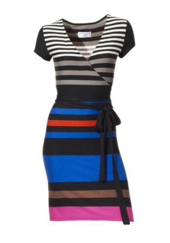 RICK CARDONA Heine Designer Wickeloptik Shirtkleid Kleid NEU blau bunt gestreift