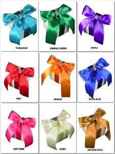 3-034-Cube-WHITE-Gift-Box-SATIN-Bow-RHINESTONE-Trim-Assembled-Choose-color-amp-Amount