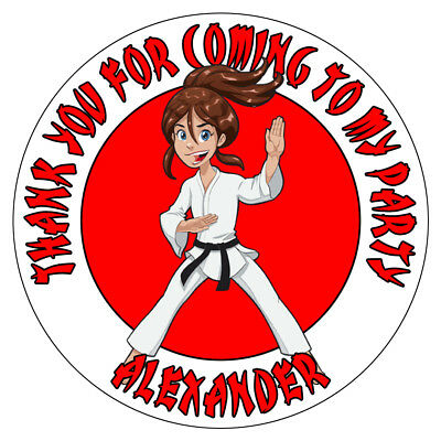 Personalised Karate Girl Birthday Party Stickers Thank You Sweet Cones Bag Label