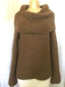 Ralph Lauren Cowl Turtle Neck Sweater Mohair Metallic Brown Long Sleeve Pullover