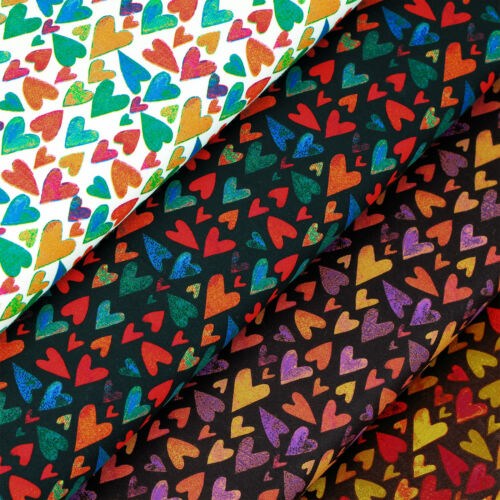 Cotton Fabric FQ Crayon Paint Mini Heart Print Valentine Quilting Patchwork VS52