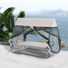 Outsunny 3 Person Covered Outdoor Swing Chair Hammock Bed w/ Heavy-duty Stand