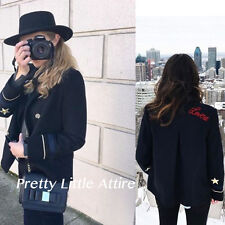 ZARA NAVY BLUE WOOL JACKET WITH PATCH DETAIL EMBROIDERED SIZE XS REF. 1255/212