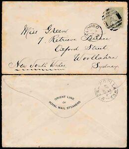 CEYLON-to-AUSTRALIA-1894-QV-15c-to-WOOLLAHRA-ROYAL-MAIL-STEAMER-ENVELOPE