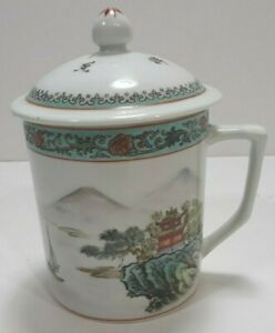 Vintage-Beautiful-Mountain-Scene-Tea-Cup-With-Lid-China-Porcelain-Made-In-China