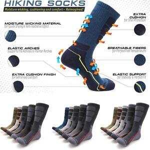 MIRMARU Mens 5 Pairs Hiking Outdoor Trail Running Trekking Moisture Wicking Cushion Crew Socks