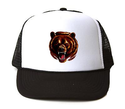 Trucker Hat Cap Foam Mesh Nature Grizzly Black Bear Bears School Mascot