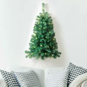 New-3ft-Christmas-Xmas-Tree-Decor-50-White-LED-Lights-Wall-Mount-Corner-Hanging