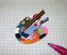 """Miniature 1/6 Barbie Scale Wooden Artist's Palette Set (2"""" x 1 3/8""""): DOLLHOUSE"""