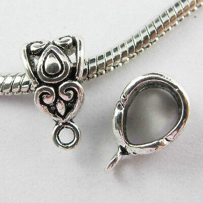 12/50/200Pcs Tibetan Silver Spacer Bail Beads Charms Pendant Fit Bracelet 14x8mm