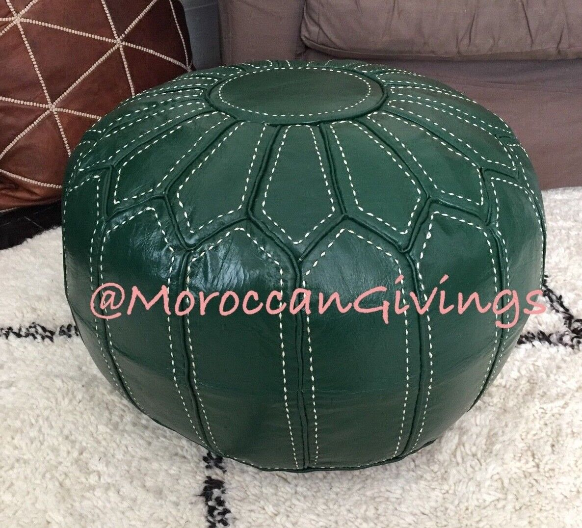 MGoldccan 100% Leather Hand Stitched Contemporary Floor Cushion Spanish Grün