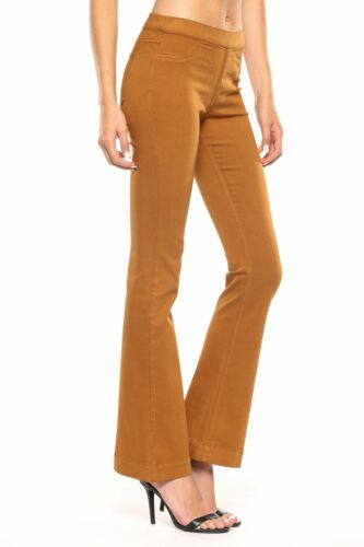 New Arrival! Cello Mid Rise Pull On Deluxe Comfort Flare Jeans Caramel
