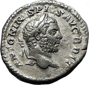 CARACALLA-210AD-Rome-Silver-Original-Authentic-Ancient-Roman-Coin-Virtus-i59006