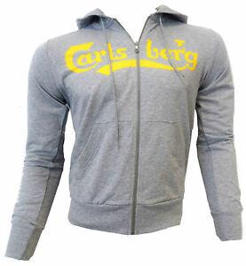 Felpa-maglia-Carlsberg-Uomo-Men-Full-Zip-Cappuccio-hood-made-in-Italy-100-coton