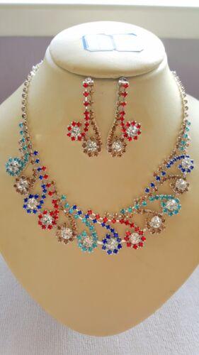 Mixed colour Diamante Flower  Necklace /& earrings set Silver colour chain