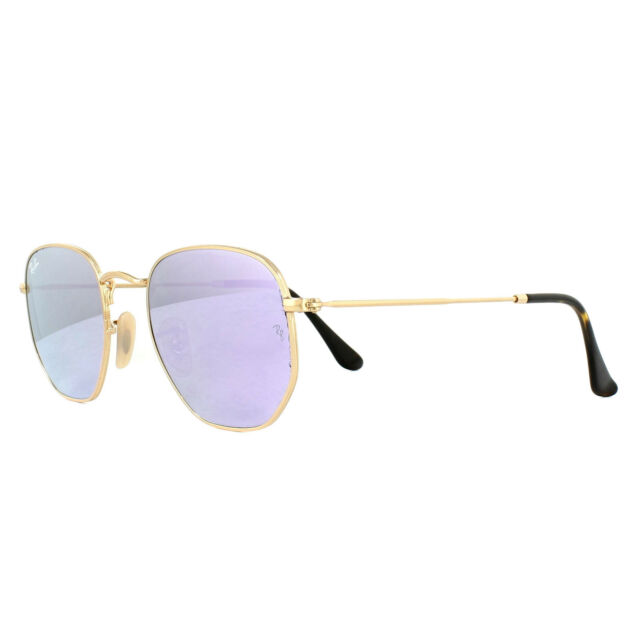 c014e266ca7 Ray-Ban Hexagonal Flat Men s Mirrored Sunglasses with Gold Frame and ...