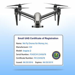 Drone Faa Uas Certificate Of Registration Commercial Pilot Id Card