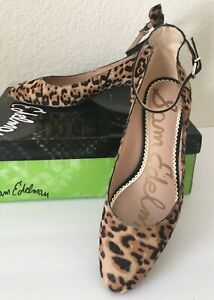 Sam Edelman Women's PUMP~Lulie Leopard PRINT Ankle Strap Pump~Size 8M~CALF HAIR