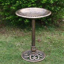 Outdoor Pedestal Bird Bath Vintage Garden Backyard Ornaments Waterproof Bronze