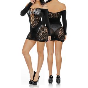 Damen Netzkleid Frauen Nachtswäsche Dessous Reizwäsche Bodysuits Body Schwarz