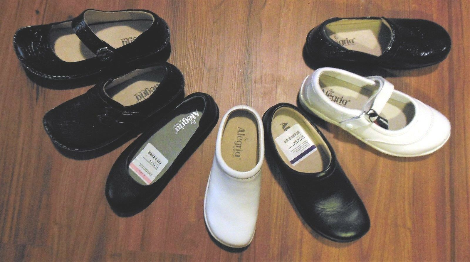 NEW Alegria Women White Black Navy Leather Patent Nursing Clog MSRP  110- 140