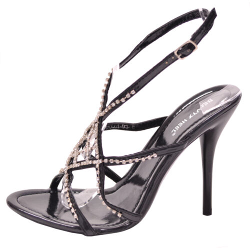 New women/'s shoes open toe stilettos high heel rhinestones prom wedding black
