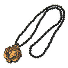 Retro Wooden Lion Crown King Carved Pendant Necklace Beaded Chain Jewelry Rasta