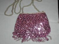 Small Sequin Purse Evening Bag Pink Glittering For Prom Wedding Formal Event