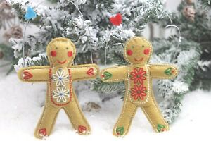 GISELA GRAHAM CHRISTMAS FELT FABRIC GINGERBREAD MAN WITH ...