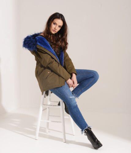 moda 06w17 blu alla grigio foderata garofano pelliccia scuro di invernale donna da Parka q8I7wA