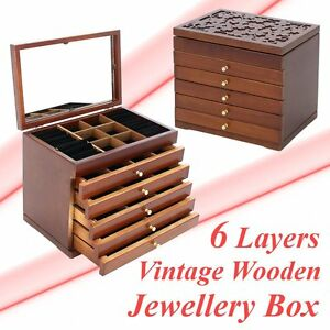 6 Drawers Jewelry Cabinet Armoire Box Storage Stand Organizer