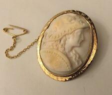Vintage 9ct 9k Gold Angel Skin Coral Cameo Athena Minerva With Zeus Mask Helmet