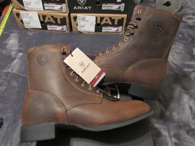 NIB Ariat® Men's Heritage Lacer Distressed Brown Boot 10001988 ROPER TOE 8  11.5