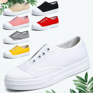 Women-039-s-Casual-Breathable-Solid-Slip-On-Canvas-Flat-Shoes-White-Shoes-Sneakers